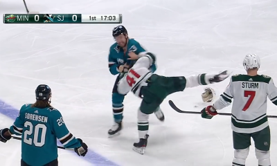 Sharks Jeffrey Viel Fights During Just His 2nd Shift in NHL Debut